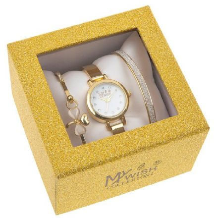Timeless Gold Coloured Small Dial Watch 3 Piece Set